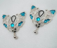 Breast Jewel Blue Butterfly Kisses Silver