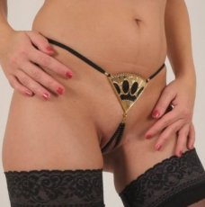 Libertine Fan G-String and gold pompom