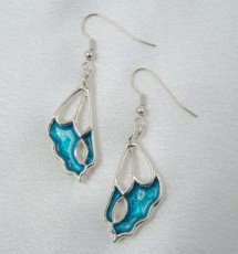 Silver Earrings Blue Butterfly Wings